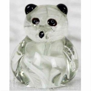 "Other - Glass Paperweight Clear Teddy Bear 2.5"" Tall White"